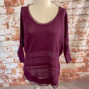 Rachel Roy purple chiffon trim sweater small